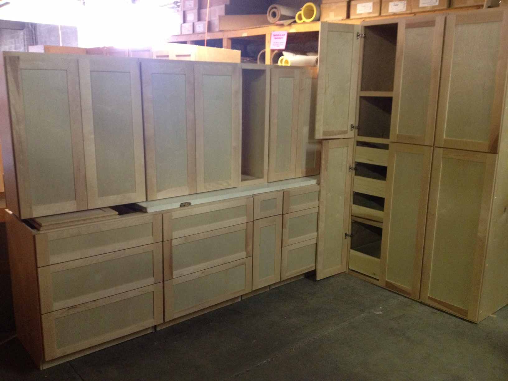 New 12 piece birch cabinet set bud s warehouse for Prefinished kitchen cabinets